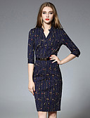 cheap Women's Two Piece Sets-JOJO HANS Women's Daily Chinoiserie Sheath DressFloral V Neck Above Knee  Length Sleeve Blue Cotton / Spandex Fall Mid Rise Inelastic