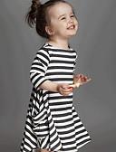 Χαμηλού Κόστους Φορέματα για κορίτσια-Νήπιο Κοριτσίστικα Ριγέ Καθημερινά Ριγέ Μακρυμάνικο Φόρεμα Λευκό