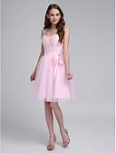 hesapli Nedime Elbiseleri-A-Şekilli Spagetti Askılı Diz Boyu Tül Boncuklama / Aplik / Kurdeleler ile Nedime Elbisesi tarafından LAN TING BRIDE®