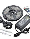 billige Kåper og trenchcoats-ZDM® 5 m Lyssett 300LED LED 5050 SMD / 5630 SMD 1 12V 6A adapter / 1 11Vis fjernkontrollen / 1 DC-kabler Varm hvit / Hvit / Rød Vanntett / Dekorativ 12 V 1set / IP65