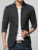 cheap Men's Blazers & Suits-Men's Street chic Plus Size Cotton Slim Blazer - Solid Colored Stand
