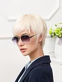olcso Női ruhák-Emberi hajszelet nélküli parókák Emberi haj Természetes egyenes Pixie frizura Bangsokkal Oldalsó rész Rövid Paróka Női