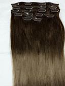 رخيصةأون ساعات سوار-Clip In شعر إنساني إمتداد مستقيم وصلات شعر طبيعي شعر مستعار طبيعي للمرأة