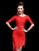 cheap Latin Dancewear-Latin Dance Dresses Women's Performance Milk Fiber Lace / Tassel Half Sleeve High Dress / Shorts