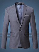 cheap Men's Blazers & Suits-Men's Street chic Plus Size Slim Blazer - Solid Colored Notch Lapel
