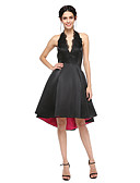cheap Cocktail Dresses-A-Line Halter Neck Asymmetrical Satin Little Black Dress / Open Back Cocktail Party / Prom Dress with Appliques / Pleats by TS Couture®