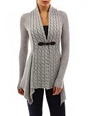 billige damesweaters-Dame Langærmet Løstsiddende Lang Cardigan - Ensfarvet U-hals