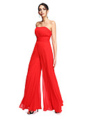 cheap Prom Dresses-Sheath / Column / Jumpsuit Strapless Floor Length Chiffon Prom / Formal Evening Dress with Draping / Ruched by TS Couture® / Open Back