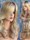 ieftine Sutiene-Peruci Sintetice Ondulee Naturale Blond Cu breton Păr Sintetic Rezistent la Căldură / Rădăcini Închise / Partea laterală Blond Perucă Pentru femei Lung Fără calotă înălbitor Blonde