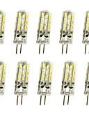 billige Blomsterpikekjoler-jiawen 10 stk 1w 120lm g4 ledet halvpennelys mais pære 24led smd 3014 dekorativ lysekrone lampe varm hvit / kald hvit AC / dc 12v