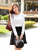 hesapli Kadın Üst Giyim-Kadın's Vintage / sofistike A Şekilli / Kılıf / Çan Elbise - Zıt Renkli / Kırk Yama, Dantel / Oyuklu / Dantelli Diz üstü / Büzgülü