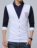 رخيصةأون فساتين نسائية-للرجال قياس كبير قميص أناقة الشارع - قطن بلوك ألوان ياقة مع زر سفلي
