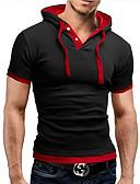 preiswerte Herren T-Shirts & Tank Tops-Herrn Solide - Aktiv Baumwolle T-shirt, Hemdkragen / Kurzarm