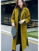 cheap Women's Coats & Trench Coats-Women's Casual/Daily Simple CoatSolid V Neck Long Sleeve Fall / Winter Green / Gold Wool Medium