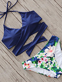 cheap Women's Two Piece Sets-Women's Halter Neck Bikini - Floral Print / Floral Patterns