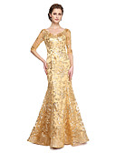 cheap Mother of the Bride Dresses-Mermaid / Trumpet V Neck Floor Length Sequined Mother of the Bride Dress with Sequin / Pleats by LAN TING BRIDE® / Illusion Sleeve / Sparkle & Shine