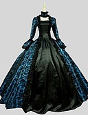 cheap Historical & Vintage Costumes-Princess Gothic Lolita Dress Party Prom Women's Dress Cosplay Black Ball Gown Long Sleeve Ankle Length Plus Size Customized Costumes