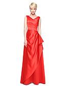 povoljno Večernje haljine-A-kroj V izrez Do poda Saten Haljina za djeverušu s Falte po LAN TING BRIDE®
