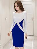 baratos Vestidos de Mulher-Mulheres Trabalho Bainha Vestido Estampa Colorida Altura dos Joelhos