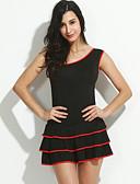 preiswerte Damen Kleider-Damen Übergrössen Klub Baumwolle Skater Kleid Solide Mini Ein-Schulter / Rüsche