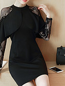 hesapli Kadın Elbiseleri-Kadın's Dantel Şifon Elbise - Solid Kırk Yama, Dantel