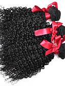 رخيصةأون ملابس ليلية نسائية-3 مجموعات شعر برازيلي مجعد / Kinky Curly / نسج مجعد شعر مستعار طبيعي ينسج شعرة الإنسان ينسج شعرة الإنسان شعر إنساني إمتداد / غريب مجعد