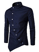 cheap Men's Shirts-Men's Chinoiserie Cotton Slim Shirt - Solid Colored Standing Collar