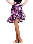 hesapli Latin Dans Giysileri-Latin Dansı Alt Giyimler Kadın's Eğitim Splandeks Kadife Tema / Baskı Doğal Etek