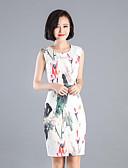 رخيصةأون فساتين للنساء-نسائي النمط الصيني قطن بنطلون طباعة أبيض / مناسب للحفلات