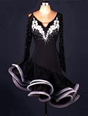 お買い得  ソシアルダンスウェア-ラテンダンス ドレス 女性用 性能 スパンデックス / オーガンザ アップリケ / クリスタル / ラインストーン 長袖 ドレス