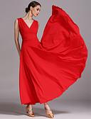 お買い得  ソシアルダンスウェア-ボールルームダンス ドレス 女性用 性能 ビスコース ドレープ ノースリーブ ドレス