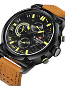 cheap Military Watches-NAVIFORCE Men's Sport Watch Military Watch Wrist Watch Quartz Japanese Quartz 30 m Water Resistant / Water Proof Calendar / date / day Cool Leather Band Analog Luxury Black / Orange - Black Orange Red