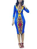levne Dámské šaty-Dámské Cikánský Bodycon Pouzdro Šaty Tisk High Rise