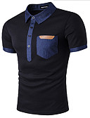 cheap Leggings-Men's Cotton Slim Polo - Patchwork Shirt Collar / Short Sleeve