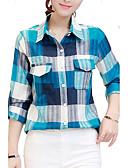 baratos Camisas Femininas-Mulheres Camisa Social Xadrez Colarinho de Camisa