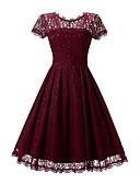 cheap Romantic Lace Dresses-Women's Holiday / Beach Vintage Cotton Lace / Swing Dress - Jacquard Lace