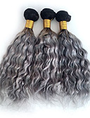 abordables Vestidos de Mujeres-3 paquetes Cabello Brasileño Rizado / Ondulado Medio / Tejido rizado Cabello humano Ombre Ombre Cabello humano teje Extensiones de cabello humano