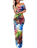 cheap Women's Dresses-Women's Vintage Boho Bodycon Sheath Trumpet / Mermaid Dress Print High Rise Maxi Boat Neck