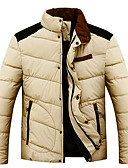 お買い得  メンズジャケット&コート-男性用 ロング パッド入り ソリッド コットン