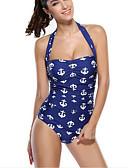 זול 2017ביקיני ובגדי ים-M L XL דפוס גיאומטרי, בגדי ים חלק אחד (שלם) תחתונים כחול נייבי קולר בגדי ריקוד נשים