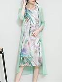 billige Kjoler i plusstørrelser-Dame Ut på byen Sofistikert Silke Løstsittende Kjole - Trykt mønster Asymmetrisk