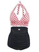 baratos Biquínis e Roupas de Banho Femininas-Mulheres Nadador Floral / Geométrico / Retro Biquíni - Xadrez / Boho / Cintura Alta