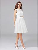 baratos Vestidos de Casamento-Linha A / Princesa Ilusão Decote Até os Joelhos Renda / Tule Vestidos de casamento feitos à medida com Renda / Faixa / Fita / Botão de