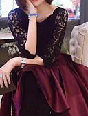 tanie Sukienki-Damskie Wyjściowe Wyrafinowany styl Koronkowe Spódnica Sukienka - Jendolity kolor, Kokarda Plisy Do kolan