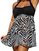 זול 2017ביקיני ובגדי ים-XL XXL XXXL דפוס חיה, בגדי ים טנקיני חצאית שחור קולר מידות גדולות בגדי ריקוד נשים