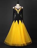 preiswerte Tanzkleidung für Balltänze-Für den Ballsaal Kleider Damen Leistung Chinlon / Organza Kristalle / Strass Langarm Kleid