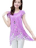 hesapli Bluz-Kadın's Polyester Oyuklu, Çiçekli Büyük Bedenler Bluz