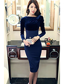 cheap Women's Dresses-Women's Street chic Slim Bodycon Dress - Solid Colored / Fall / Winter