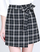 cheap Women's Skirts-Women's Going out Cute Plus Size A Line Skirts - Check Bow Layered