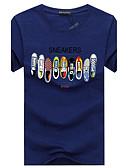 billige T-skjorter og singleter til herrer-Bomull Rund hals Store størrelser T-skjorte Herre - Grafisk, Trykt mønster Fritid Sport / Kortermet